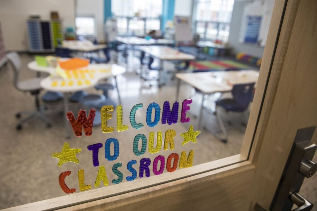 Lettering on a door welcomes students and visitors to a classroom at the Mattawan Early Elementary School in Mattawan.
